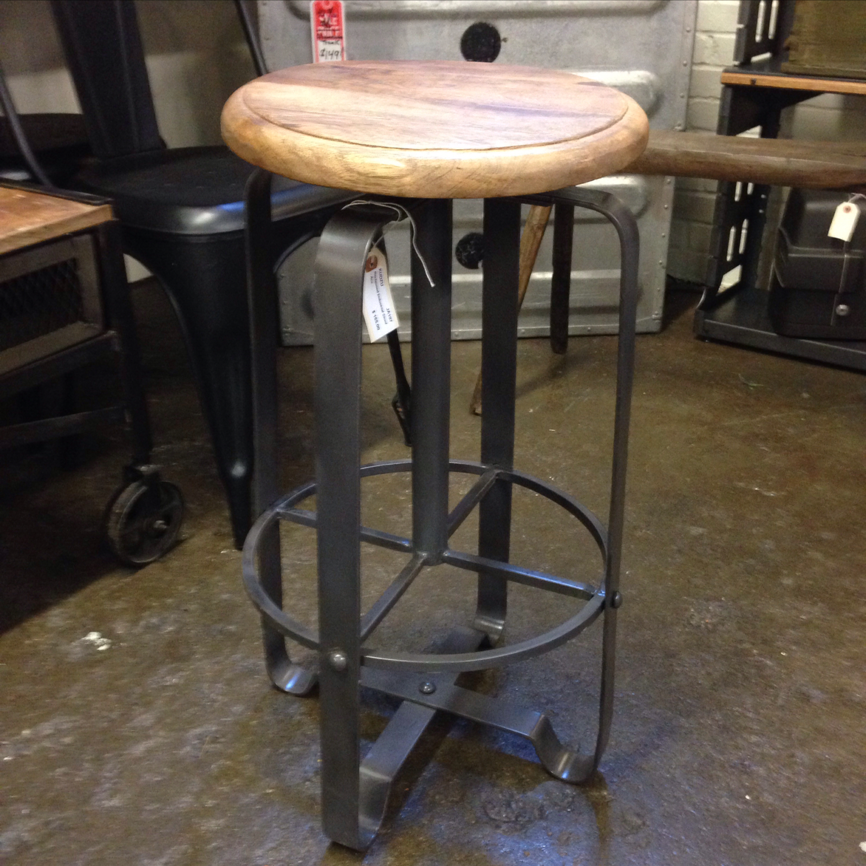 Adjustable reclaimed wood metal stool kudzu antiques for Repurposed metal furniture