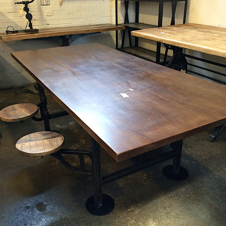 Amazing industrial dining table with built in swivel for Built in dining table