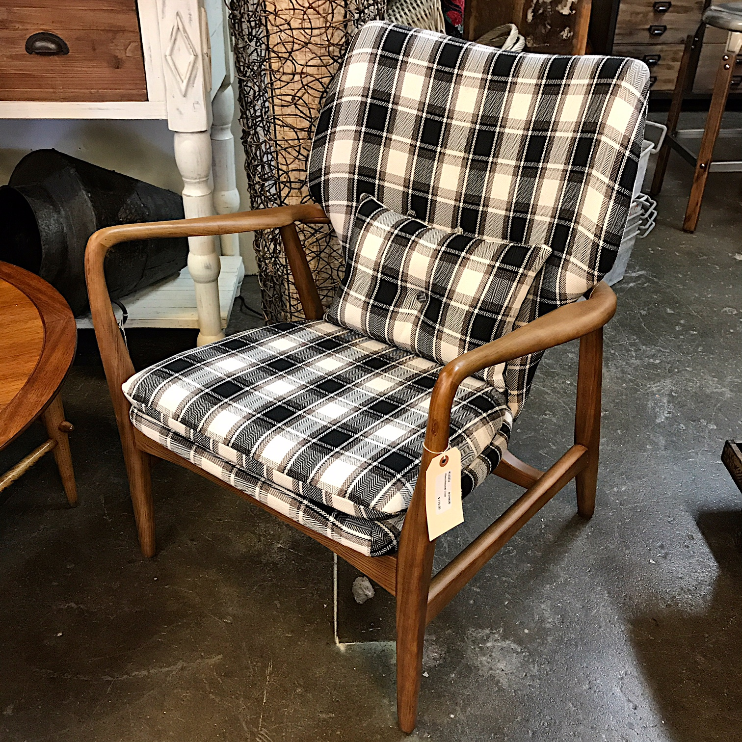Danish modern style plaid chair kudzu antiques for Danish modern reproduction