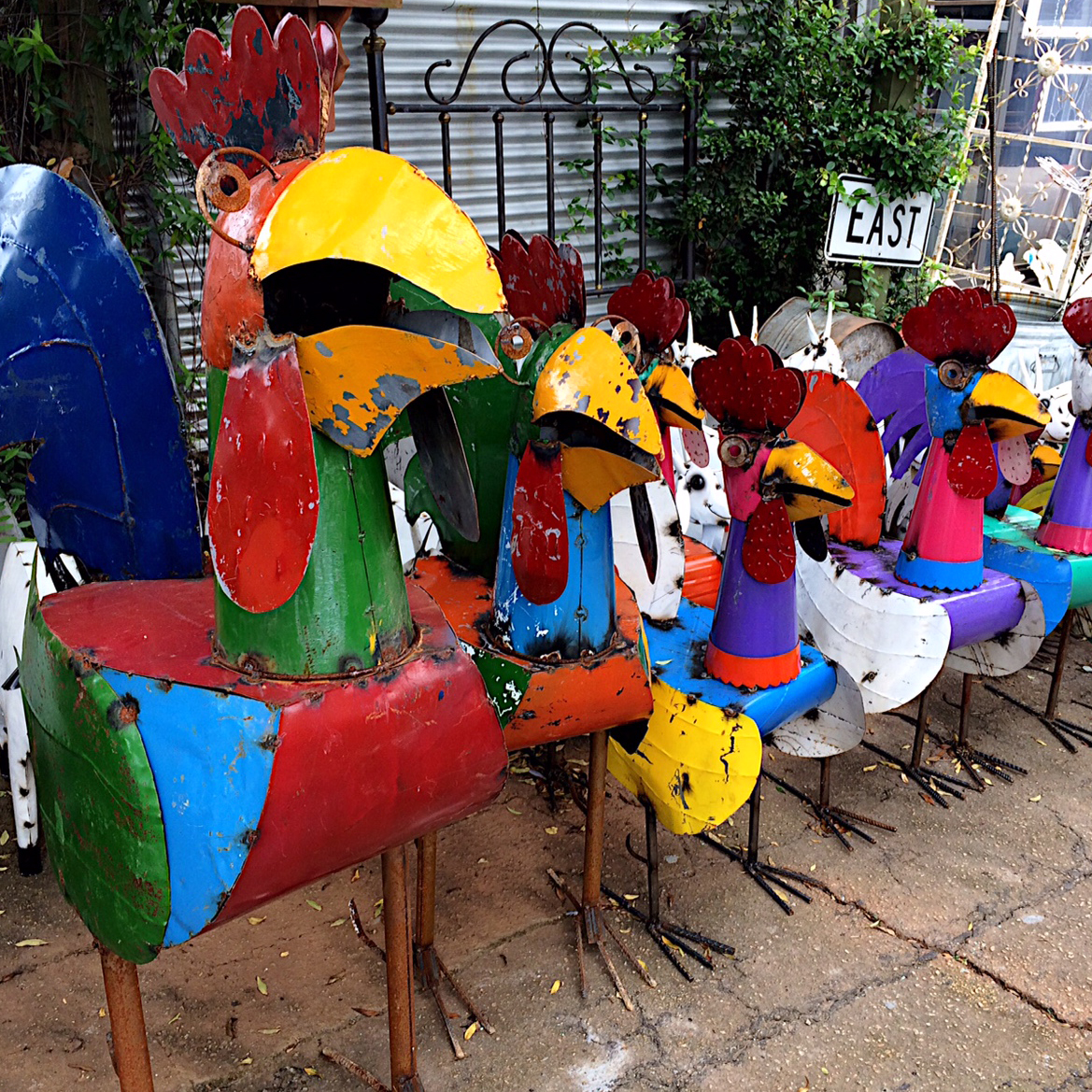 Upcycled Metal Rooster Yard Art