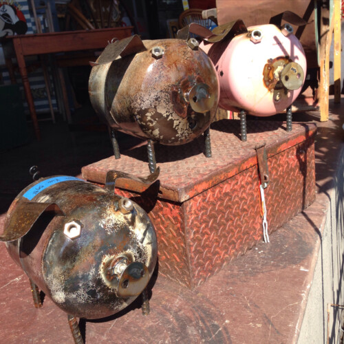 Upcycled Metal Ground Pig Yard Art Kudzu Antiques