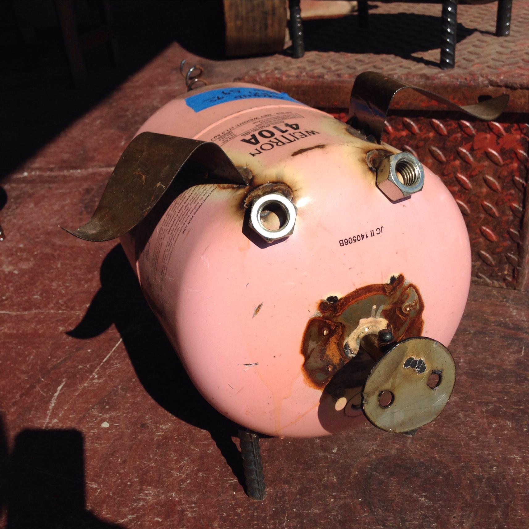 Upcycled Metal Ground Pig Yard Art Kudzu Antiques