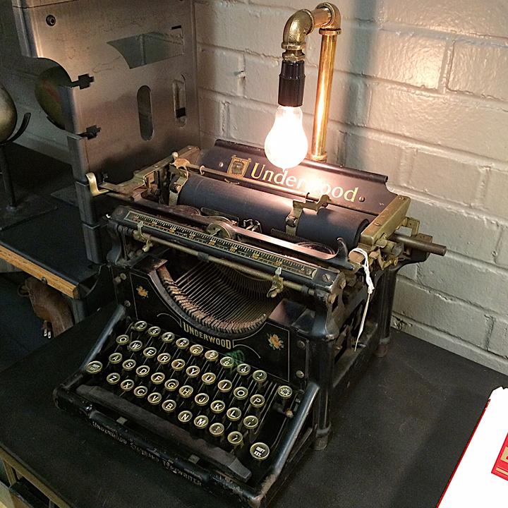 Brisbane Lighting Warehouse Underwood: Amazing Re-Purposed Underwood Typewriter Lamp