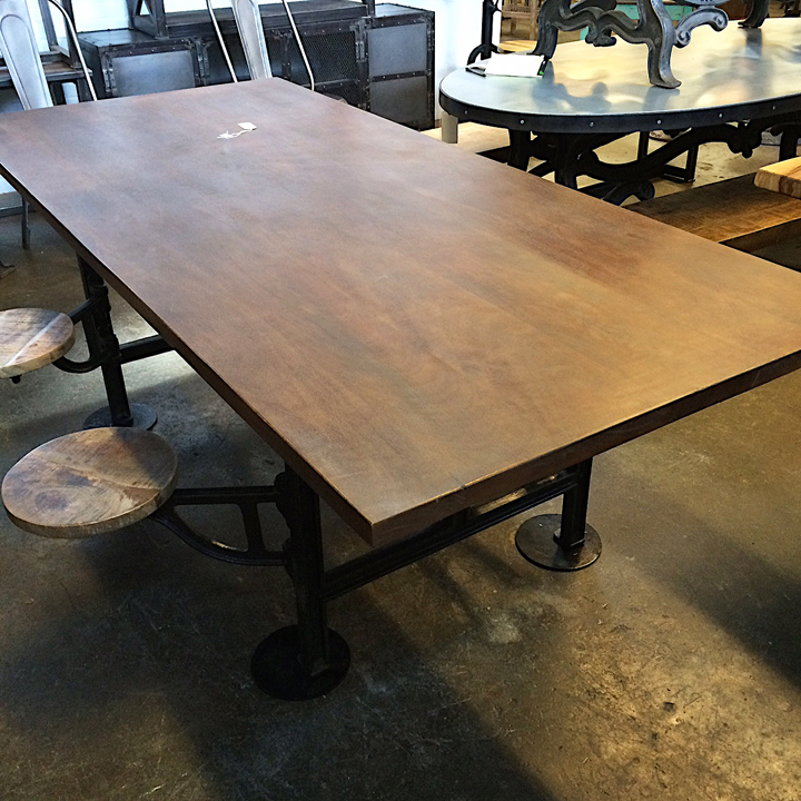 ... Industrial Dining Table With Built In Swivel Stools. ; 