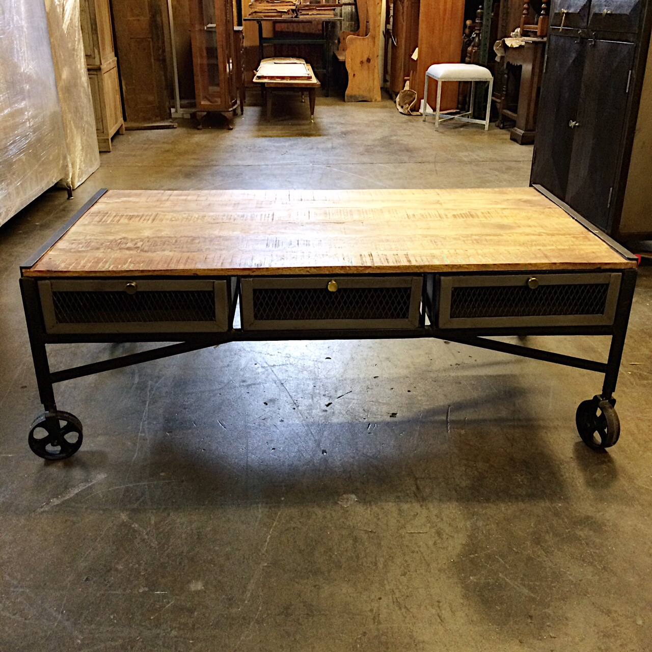 Indore Coffee Table With 6 Drawers: Industrial Iron And Wood Coffee Table With Drawers