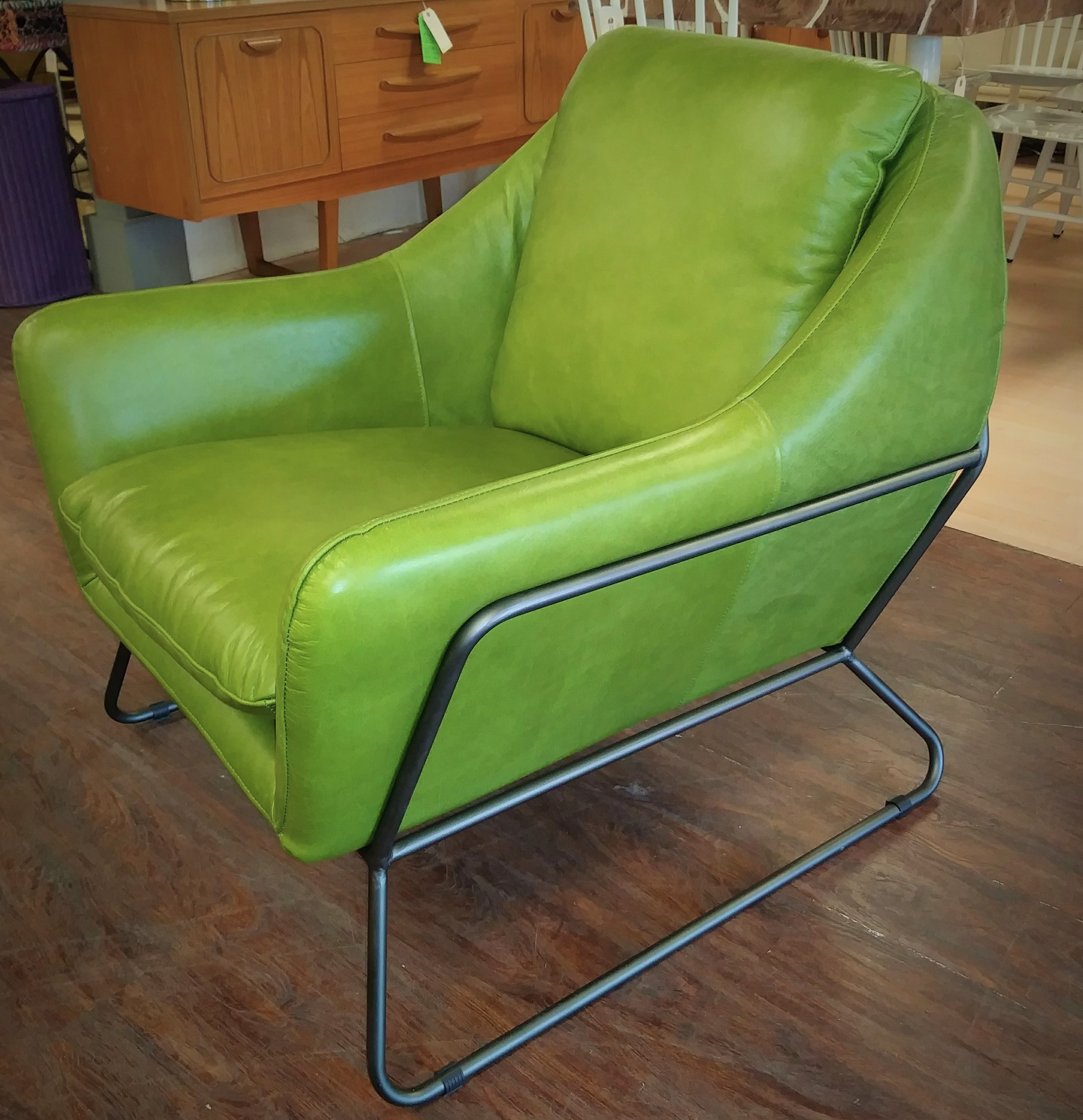 Green Leather Alan Chair