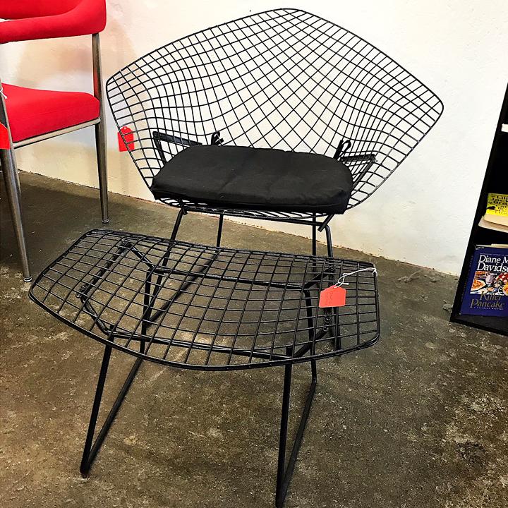 ... Bertoia Diamond Chair And Ottoman. ; 