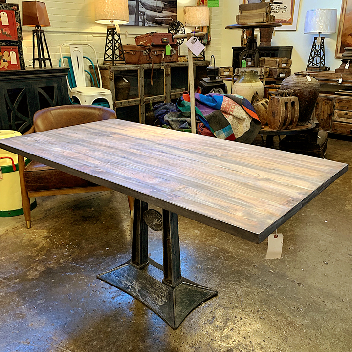 Industrial Dining Table With Cast Iron Base